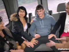 5 Cougars hunting for cock in the MatureVan