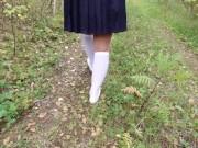 Schoolgirl in white knee socks walk nature foot feet fetish under skirt