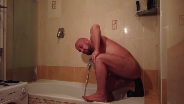 Bearded gay bear Dildo Riding and sucking Expert - deepthroating a dildo BATHROOM STORIES - PART 2