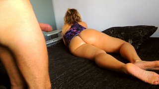 Tied my stepmother to the couch and fucked in all holes.