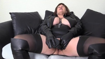 Big tit Mature Step Mom has a Black Leather, Black Cock Fantasy