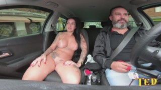 Elisa Sanches on Ted's ride gets naked in public on the street