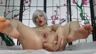 Screen Capture of Video Titled: Anime girl fingering her holes with toys