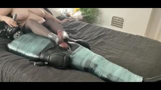 Ignoring My Latex Bondage Sub then Giving him a Condom Footjob