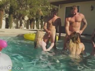 Dick Flopping Transgender Orgy In Pool – GenderX