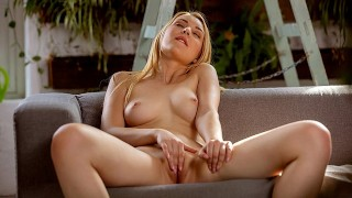 Beautiful Amaris plays with her shaved pussy