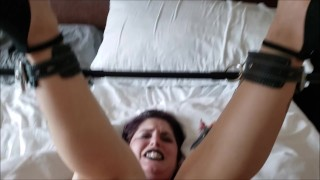 Kinky Kaya gets a rough fuck by Master in a spreader bar and black lingerie