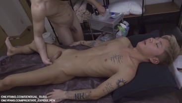 Hot twink leaking precum during prostate massage! Japanese student fucked by muscular masseur raw