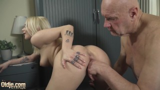 Blonde finger fucked and gets cum from juicy old cock