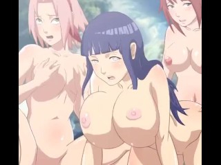 Naruto and Fairy Tail - Himawari Sakura Hinata Futa Sara Lesbian Orgy