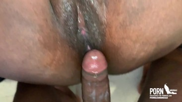 Black woman pussy masturbation with toy Squirts Then takes a BBC Creampie