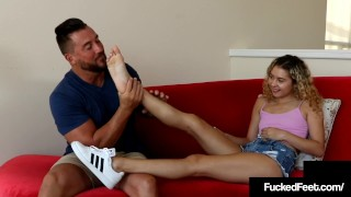 Tiny Curly Haired 19yo Teen Allie Addison Gives Hot Footjob!