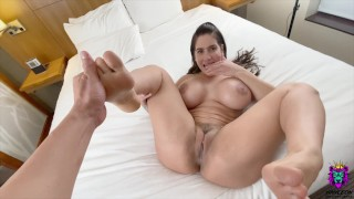 Big Tits MILF licks her own feet when she feels a dick inside her pussy
