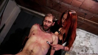 Clip Hanjob And Cumshot. Mistress Tormentes Slave With Hot Wax, Nipple Play And Wartenberg Neurowheel
