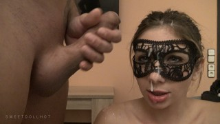Screen Capture of Video Titled: Girl with black leggings, super cumshot on the face, 4KHD