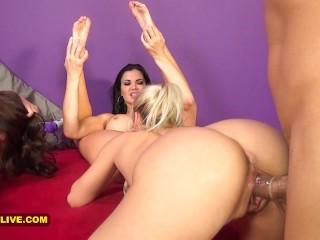 3 SEXIEST PORNSTARS EVER Jasmine Jae, Marsha May & Britney Amber TRIPLE TEAM 2 Lucky Guys - Part 1