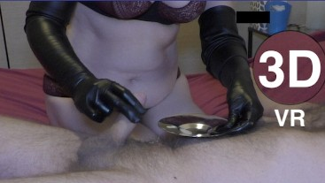 Long gloves teasing handjob 180 3D VR