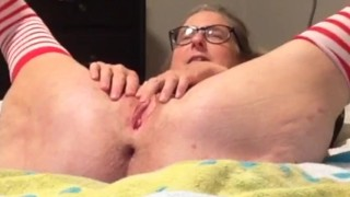 Slut Wife In Stockings Gets Tied Up And Fingers Wet Shaved Pussy