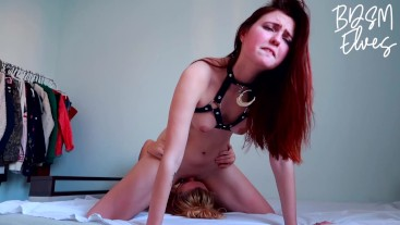 Lesbian Facesitting Domination and Loud Dominatrix Moaning on Slave Girl Face