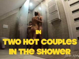 Two hottest Polish couples fuck under the shower - Owiaks and Mavka Nadish