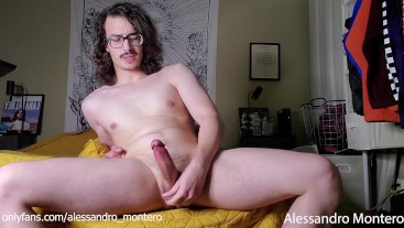 Horny Latino with Big Balls Jerks Off and Cums - Alessandro Montero