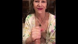 Amateur MILF GILF With Red Lipstick Gives Sensual Slow Delicious POV CIM Swallow Blowjob