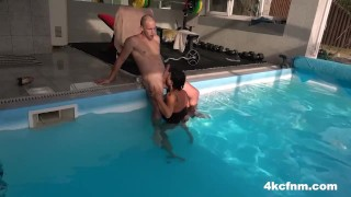 Fucked Up CFNM Granny plays with my Cock by the Pool