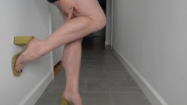 Muscular Calves Show Off in New Mule Heels with Clear PVC Top