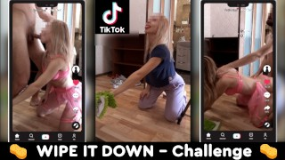tik tok wipe it down challenge with fit woman – amazing babe – teen porn