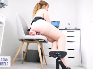 Real office slut DP's herself between taking client calls