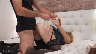 Rough spanking and loud moaning during hardcore fuck with tied up babe. Male domination - Otta Koi