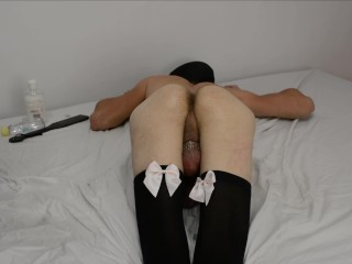 Mistress Squeezes Sperm out of his Balls. Cock Milking Anal prostate massage