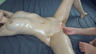 Sensual oiled massage, oil tits massage, fingering orgasm