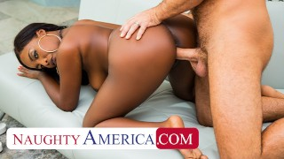 Naughty America – Daya Knight takes her friend's big cock for a ride after a full body massage