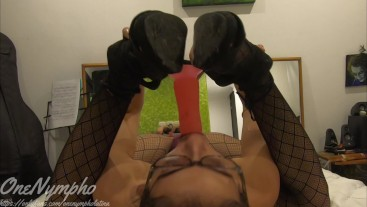 GIRL in HEELS Wearing LONG BLACK SOCKS and RED Lipstick STRIPS and SUCKS a BIG DILDO! Full version