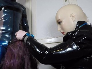 Miss Maskerade in Full Rubber Perform a Blowjob with her Silicone Female Mask and Latex Gloves 02