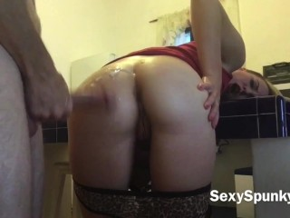Anal Surprise ; Ass Fucked While Cleaning the Kitchen – Sexy Spunky Girl
