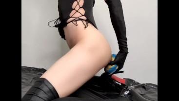 Femboy anal masturbates using a dog dildo and cums 3 times