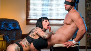 Busty Tatted Babe Jessie Lee Takes Control Of Blindfolded Bfs Cock
