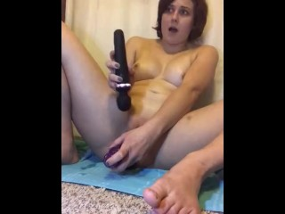 Riding ENORMOUS anal trainer . DP and HARD Orgasm
