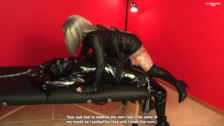 Amateur Femdom gives sub eye-contact blowjob and makes him swallow his own cum.