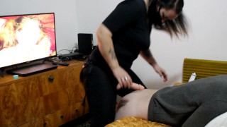 Pegging my sissy little stepbrother with a strapon