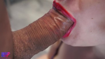 Gentle and sensual blowjob, red lips, oral creampie