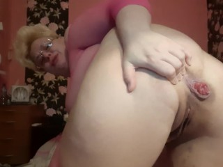 Doggy pee and fart,prolapse in fishnet bodysuit