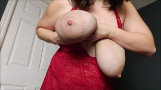 Shaking my big veiny hangers with huge areolas, SO SAGGY! clapping boob drops