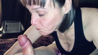 Mature cougar wife sucking on young meat again. I love watching another man cum in her mouth!