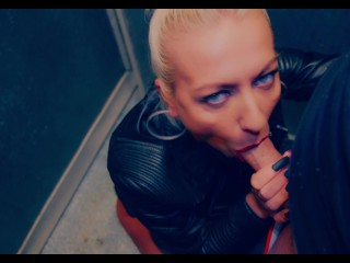 4K- Real PUBLIC Elevator BLOWJOB by a HOT BLONDE – RUSSIAN ghettos apartments – ADELLA JAY