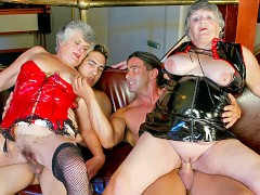 Two Old Grannies Get Banged By Junior Guys