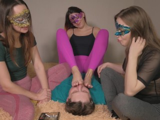 Princess makes slave lick feet and girlfriends spit in his face