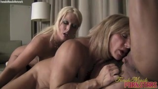 Ashlee, Wildkat, and Alura have a muscle lesbian threesome